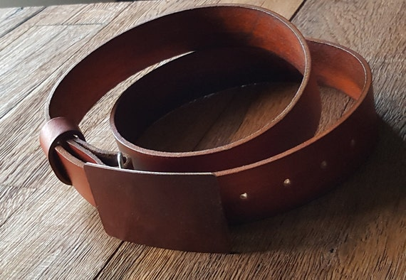 Tan Hand Dyed Leather Belt Buckle & Leather Belt Custom Made for Guitar Players  ~ Custom Colours Available ~ Will Custom Cut Belts to Size