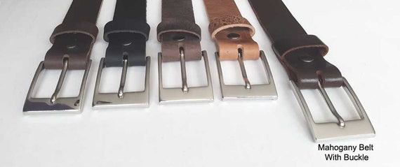 """Mahogany Leather Belt with Snaps, Belt Keeper & Buckle ~ Will Custom Cut for You ~ 1-1/2"""" wide Belt for Jeans or 1-1/4"""" wide Belt for Suits"""