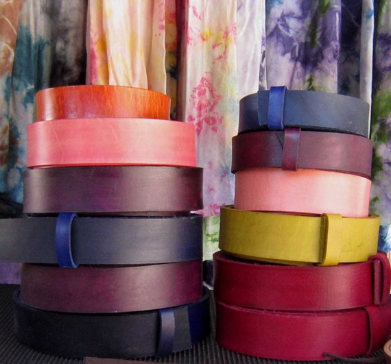 Hand Dyed Leather Belt, Variety of Colors, Belts with Snaps, Coloured Belts, Belt for Jeans, Belt for Suit, Belt for Golf, Belt & Buckle Set