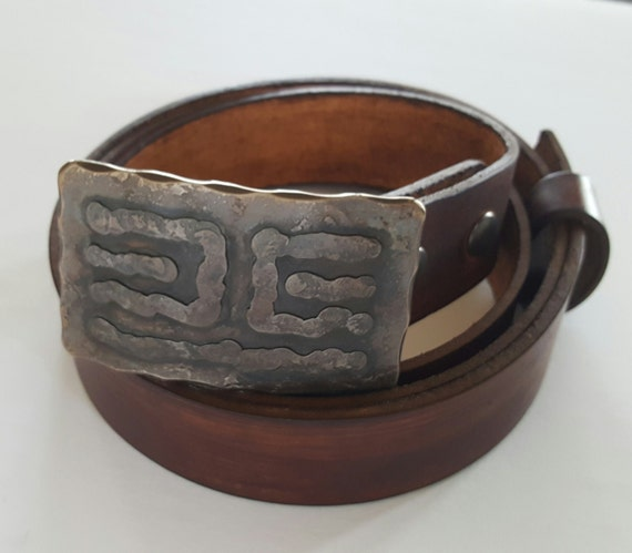 "Bronze Belt & Buckle Set Ancient Hand Forged Stainless Steel Replica Buckle and Hand Dyed Wood Grain Leather Belt with Snaps For 1.5"" Belt"
