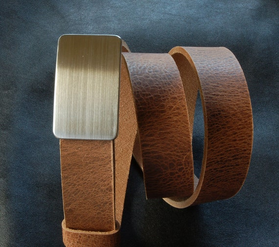 Unisex Belt Buckle and Five Belts Brushed Stainless Buckle and Brown Belt, Black Belt, Fawn Belt ,Distressed Belt and Mahogany Leather Belt