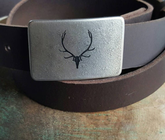 "Elk Belt & Buckle Outdoor Gear Natural Stainless Steel Buckle Etched and Signed Custom Designed Buckle by Canadian Robert Aucoin 1.25"" Belt"