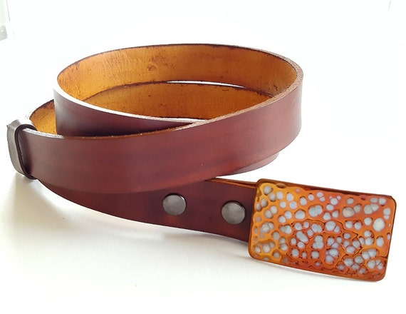Custom Buckle & Belt SET Orange Golf Accessories Signed Original Unisex Accessories Hypoallergenic Buckle ~ Hand Dyed Leather Belt for Suits
