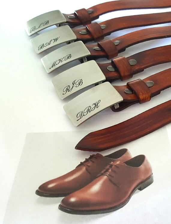 Groomsmen's Monogrammed Buckle & Belt ~ Personalized Wedding Accessories ~ Custom Gifts ~ Belt and Buckle with Monogram ~ Groomsmen's Gifts