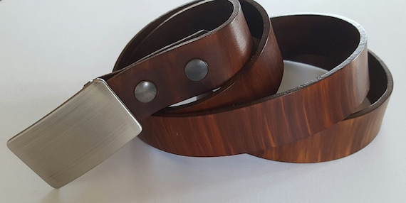 "Men's Belt & Buckle SET ~ Brushed Stainless Suit Buckle with Hand Dyed Leather 1-1/4"" Belt made in Canada by ironartcanada Men's Accessories"