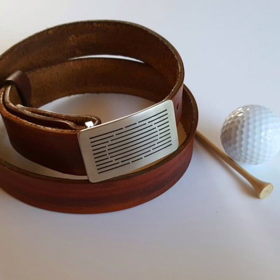 Golfer's Belt Buckle Set Hand Dyed Woodgrain Belt with Etched Golf Buckle for Suits, Casual Dress, Golf Tournament Prizes & Avid Golfers