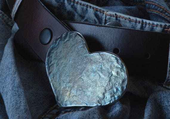 """HEART Belt Buckle, Love Gift, Sweet 16, Heart Shaped Buckle, Mother's Day Gift, Anniversary Gift, Buckle Fits 1-1/2"""" Leather Belt for Jeans"""