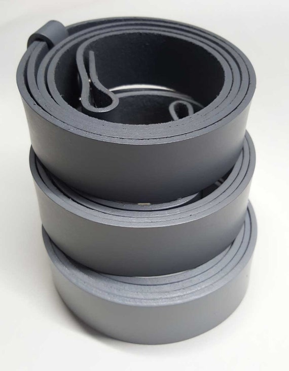 "Light Grey Belt ~ Medium Grey Belt ~ Dark Grey Belt 1-1/4"" or 1-1/2"" Hand Dyed Gray Leather Belt INTERCHANGEABLE Belt with Snaps Custom Cut"