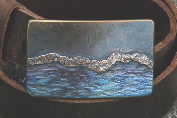 Canadian Landscape Belt Buckle  Sea and Sky Buckle  Outdoor Gear Designed and Signed by Artist Robert Aucoin Fits 1.5 Leather Belt for Jeans