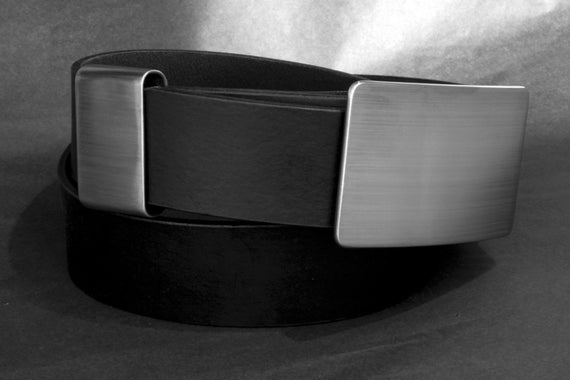 "Gentlemen's SET Silver Belt Buckle, Keeper & Belt ~ Brushed Stainless Steel~ Hypoallergenic  Classic Signed Original with 1.5"" Leather Belt"