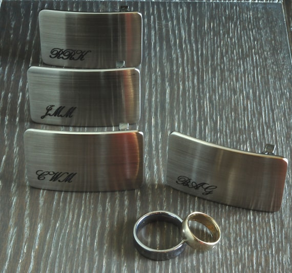 "Belt Buckles Personalized Keepsakes Groom & Groomsmen's Brushed Stainless Steel Wedding Accessories Hand Forged Belt Buckles Fits 1.25"" Belt"