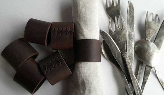 Dark Brown Leather Napkin Rings, Hand Stitched Lace, Intimate Dining, Leather Anniversary, Dining Accessories, Wedding Table, Table Decor