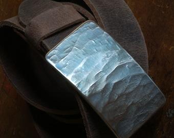 "Belt Buckle, Blue Jean Buckle, Hypoallergenic, Hand Forged, Wood Grain, Textured Stainless Steel, Belt Buckle fits 1-1/2"" Belt for Blue Jean"