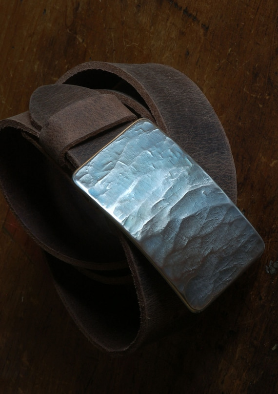 "Men's Blue Jean Belt Buckle Hypoallergenic Hand Forged Wood Grain Textured Stainless Steel Signed Belt Buckle fits 1-1/2"" Belt for Blue Jean"