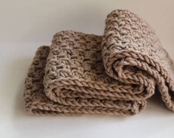 Taupe Crochet Scarf, Infinity Taupe Scarf, Light Brown Scarf, Chunky Taupe Scarf, Taupe Cowl, Taupe Knit Scarf,