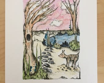 Baby deer in the forest Illustration