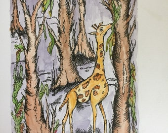 Giraffe Illustration watercolor with ink
