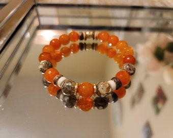 Orange agate and coconut bead bracelet