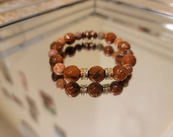 Gold Sandstone and Leopard Jasper beaded bracelet