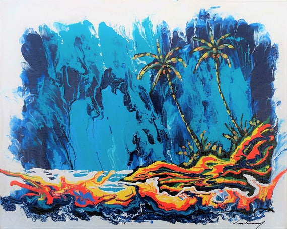 Hot Lava And Blue Sky Colorful Abstract Expressionism Original Painting By Hawaii Artist D Mcgeary