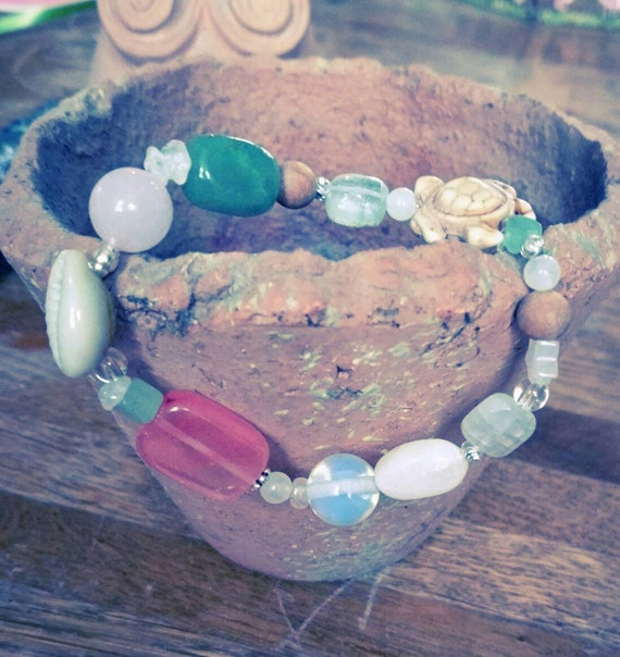 Fertility Bracelet With Gemstones Cowrie Shell And Turtle Etsy