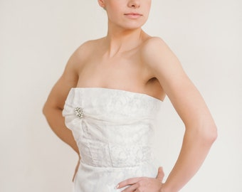 Wedding Dress SAMPLE SALE -- Ivory and Blue Vintage Lace Wedding Gown