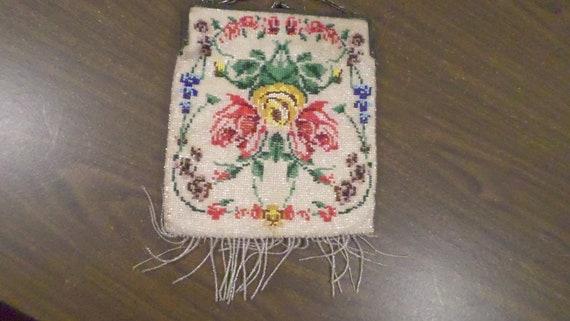 Vintage Beaded Purse, Floral Beaded Purse