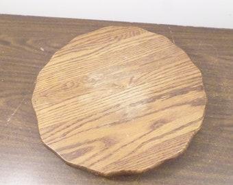 """14 1/2"""" Vintage Wood Lazy Susan, Scallop Edge, Table Centerpiece"""
