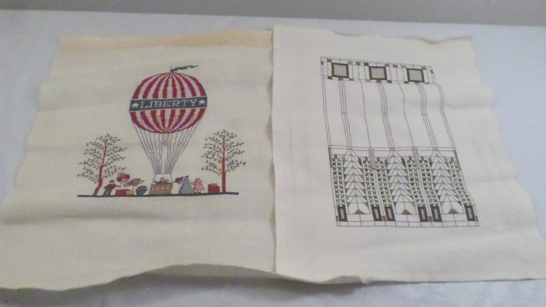 2 Vintage Handmade Handstitched Designs Hot Air Balloon LIBERTY and Abstract Design