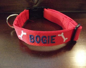 961994af61ec Custom Made Personalized Embroidered Dog Collar, Personalized Dog Collar  with name and phone number, Custom Dog Collar, Dog Collar with name