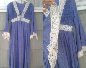 Big Bell Sleeve Dress by Candi Jones Calif. 1970's Sm Med