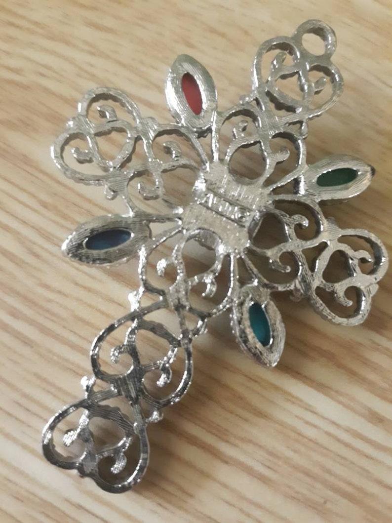 AVON Cross Pendant Necklace Cabachon Stones Silvertone 1970s
