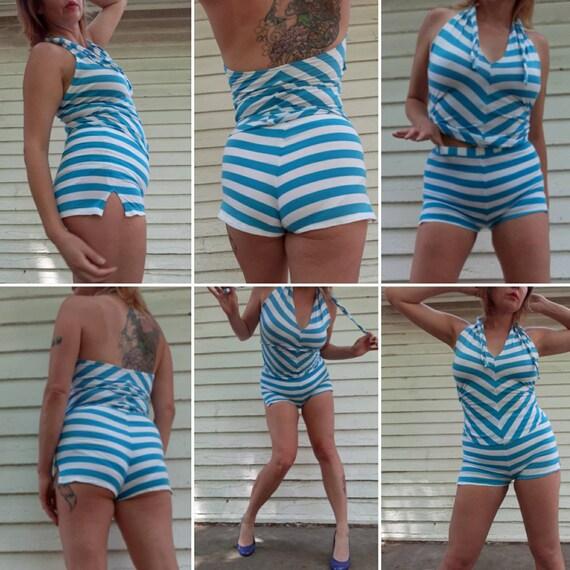 Vtg Beach Pajamas 2 Pc. High Waist Halter Sm. Chev