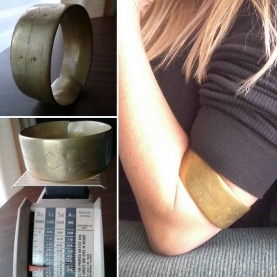 Solid Brass Vintage Armband/Primitive/Modernist/Br
