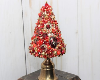 beaded topiary tree small red gold ooak handmade christmas tree stocking stuffer bejeweled antique buttons vintage jewelry home decor - Topiary Christmas Decorations