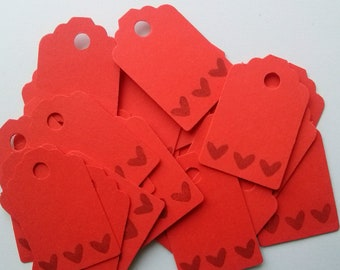 Red Paper Tags 25 Gift tags Die Cut Tags Wedding thank you tags Wedding favor tags Mini Tags Small paper tags