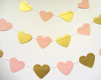 Gold and Pink Paper Garland Heart Garland Paper Wedding Garland Birthday Garland Wedding Garland pink and gold Shower Birthday party