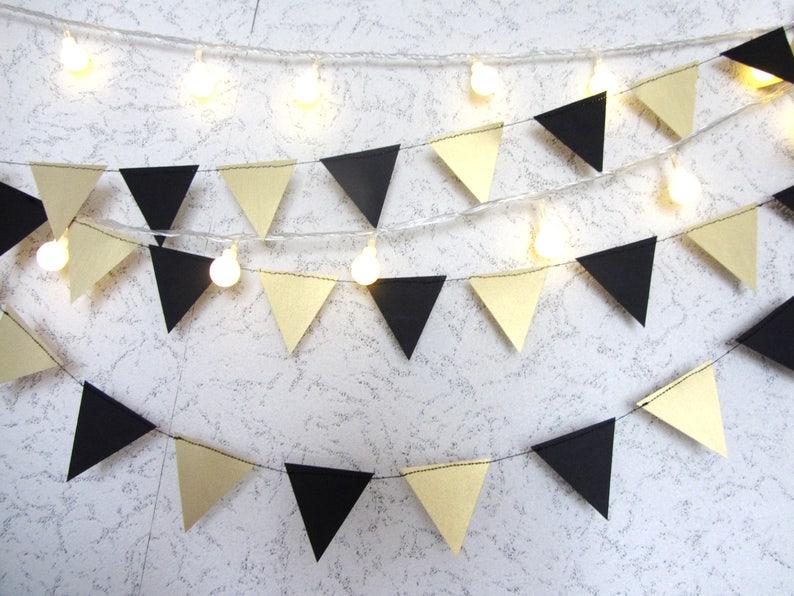 Wedding Engagement Birthday Wall Decor Gold Black paper garland triangles garland black and gold Gold Black Flag Garland