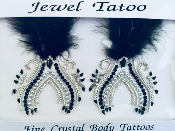 Faux Feather Non piercing nipple crystals ,new for 2019, Ready to ship, swarovski stones embeded with fine beads YO 596