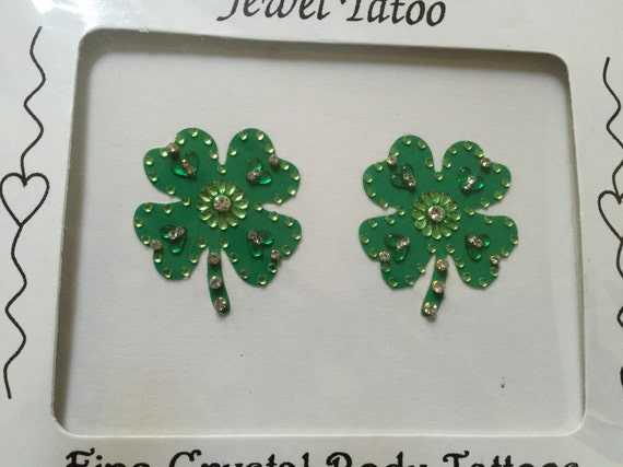 Crystal breast Covers Pasties 2019 Shamrock Clover leaf with swarovski crystals and beads  by Definitions original with belly Tatttoo 3pcs