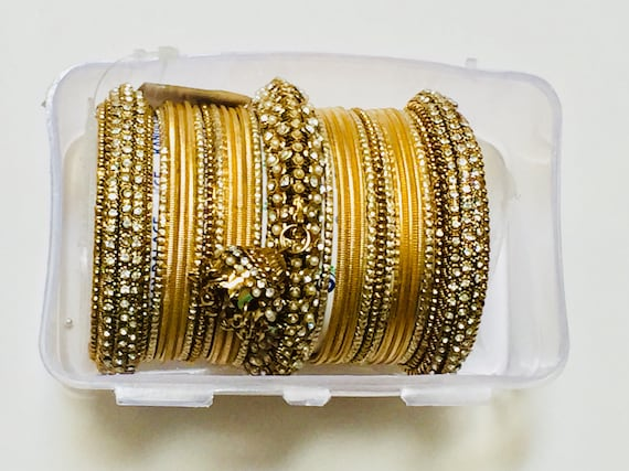 Bollywood Bridal Bangles designer couture ,size 2.10 Dance sangeet as seen in movies , gold plated, this is one set 22 bangles approx ,