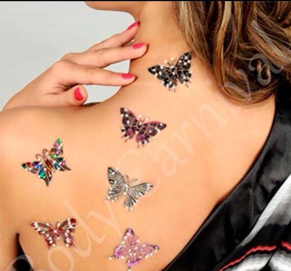 Butterflies designed in Japan for Definitions,hot Body decor ,self adhesive reusable