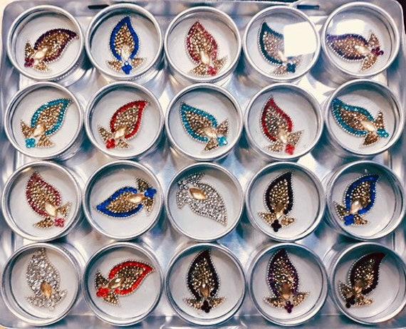 Mehandi sangeet Bridal giveaway wearable art Bindis clustered with swarovski stones designer box of 20, candlelite