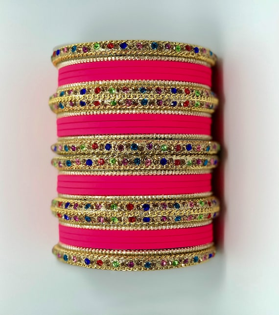 Bollywood Bridal Bangles multicolor Swarovski Stones embeded illuminate the center sangeet Party must