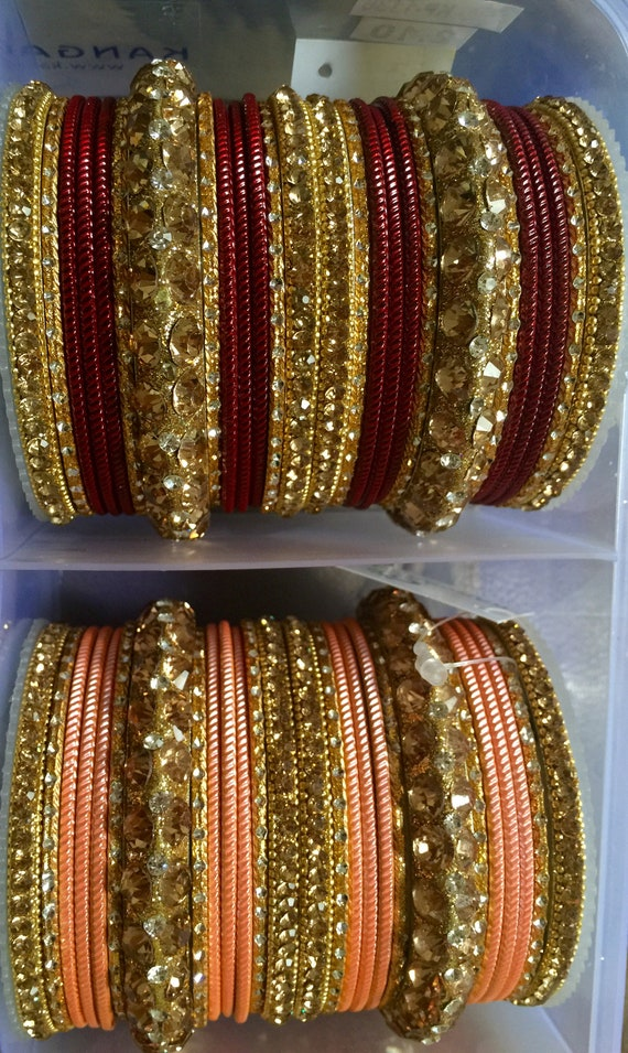 Bollywood Bridal Bangles dance sangeet sizes 2.6 or 2.10 , one par for each hands couture designer choose color and size