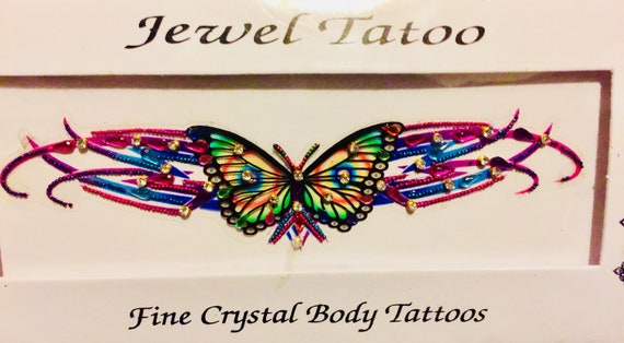 Psychedelic Butterfly California tramp stamp , multicolor Swarovski Stones embeded on the fine wearable art self adhesive reusable Tattoo