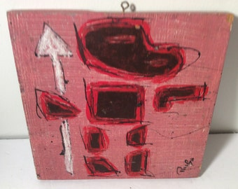 "RonGo Art  Outsider Art painting on board - 10"" by 10"""