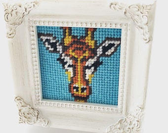 Mini Framed Giraffe Needlepoint Kit