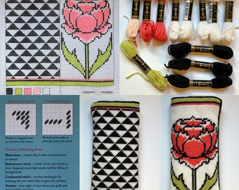 Peony Eyeglass Case Needlepoint Kit with Stitch Painted Canvas