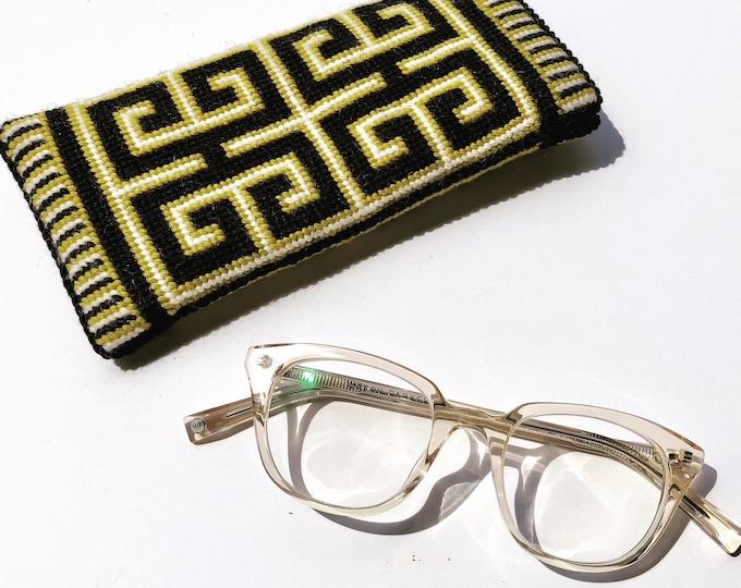 Greek Key Eyeglass Case Needlepoint Kit with Stitch Painted Canvas